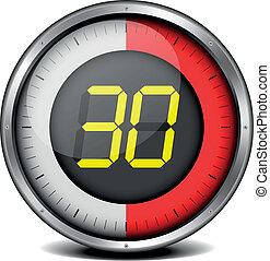 timer digital 30 - illustration of a metal framed timer with...
