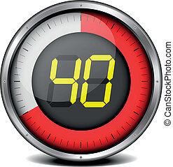 illustration of a metal framed timer with the number 40