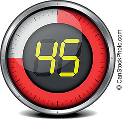 illustration of a metal framed timer with the number 45