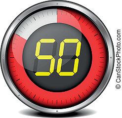 illustration of a metal framed timer with the number 50