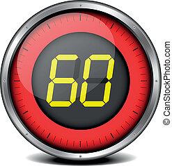timer digital 60 - illustration of a metal framed timer with...