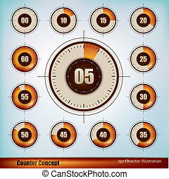 Timer display - Collection of timer icons design in five...