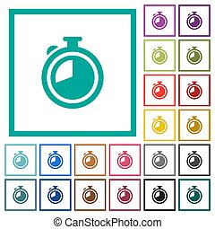 Timer flat color icons with quadrant frames on white...