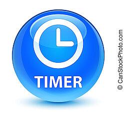Timer glassy cyan blue round button