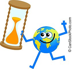 timer globe - cartoon world globe man holding an egg timer