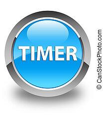 Timer glossy cyan blue round button