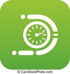 Timer icon green vector