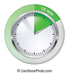 Timer icon - Green Timer icon. Ten minutes. Illustration on...