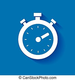 timer icon, isolated, white on the blue background.