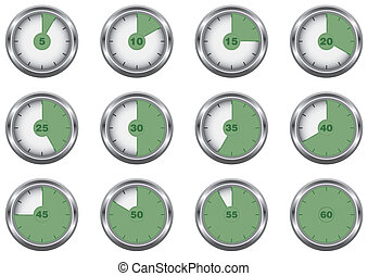 Timer icon set, vector illustration