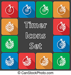 Timer Icon Set with Long Shadow
