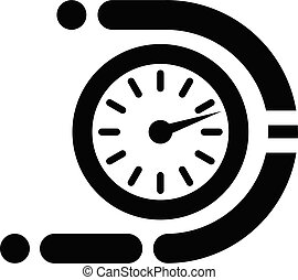 Timer icon, simple black style