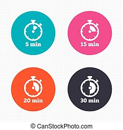 Timer icons. Five minutes stopwatch symbol. - Circle...