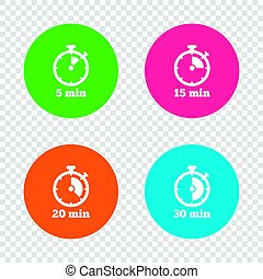 Timer icons. Five minutes stopwatch symbol.