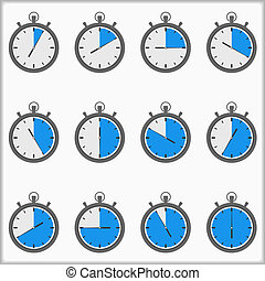 Timer Icons - Set of timer icons, vector eps10 illustration