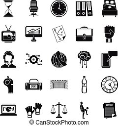 Timer icons set, simple style
