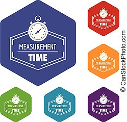 Timer icons vector hexahedron