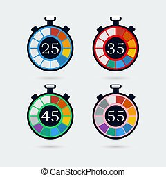 Timer icons with color gradation. Vector illustration