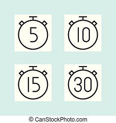 Timer outline icon, 5 10 15 and 30 minutes, outline