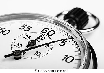 Timer - silver stopwatch closeup 5 sec isolated on white