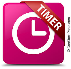 Timer pink square button red ribbon in corner