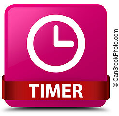 Timer pink square button red ribbon in middle