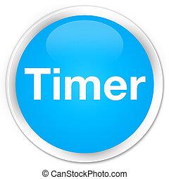 Timer premium cyan blue round button