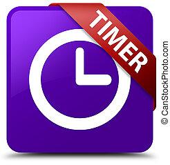 Timer purple square button red ribbon in corner