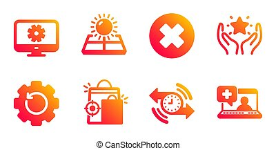 Timer, Ranking and Recovery gear icons set. Sun energy, ...