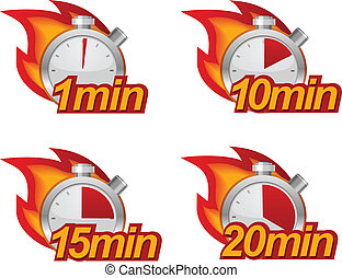 1 minute, 10 minutes, 15 and 20 minutes timers with fire on background