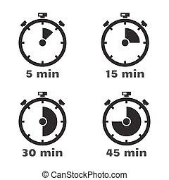Timer set, vector symbols.