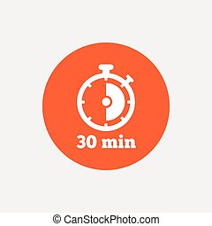Timer sign icon. 30 minutes stopwatch symbol.