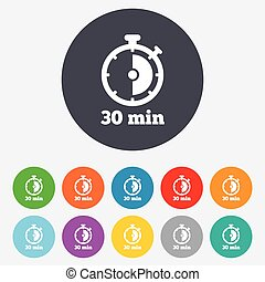 Timer sign icon. 30 minutes stopwatch symbol. Round colourful 11 buttons. Vector