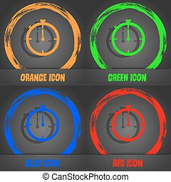Timer sign icon. Stopwatch symbol. Fashionable modern style. In the orange, green, blue, red design. Vector