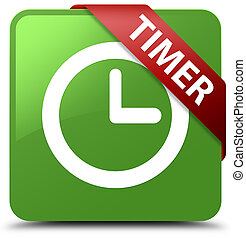 Timer soft green square button red ribbon in corner
