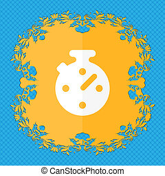 Timer, stopwatch . Floral flat design on a blue abstract background with place for your text.