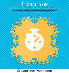 Timer, stopwatch . Floral flat design on a blue abstract background with place for your text. Vector