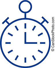 Timer, stopwatch, time management line icon concept. Timer, stopwatch, time management flat vector symbol, sign, outline illustration.