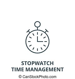 Timer, stopwatch, time management vector line icon, linear concept, outline sign, symbol