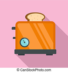 Timer toaster icon, flat style