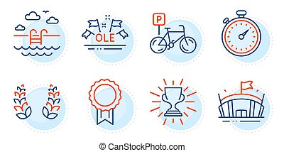 Timer, Trophy and Bicycle parking icons set. Ole chant, ...