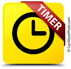 Timer yellow square button red ribbon in corner