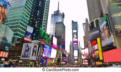 Times Square in New York City time lapse with blurred trademarks