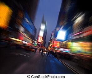 Times square, Manhattan, New York, radial blur
