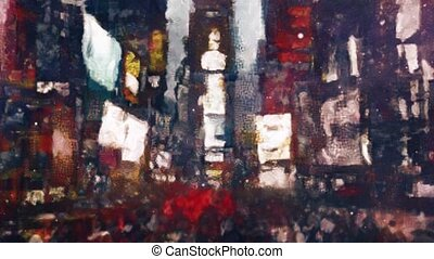 Times Square, New York. Abstracted moving crowd
