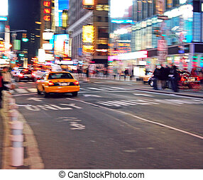 Times Square, New York - Taxi in Times Square-Deliberate...