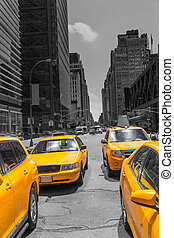 Times Square New York yellow cab daylight - Times Square New...