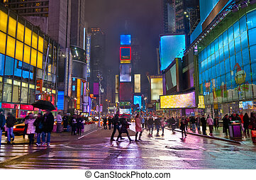 Times Square the first 2010 night and snow.