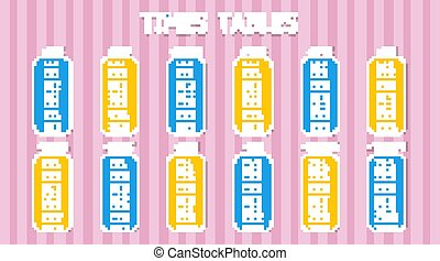 Times table on pink background