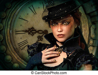 3d computer graphics of a young woman with clothing in Steampunk style